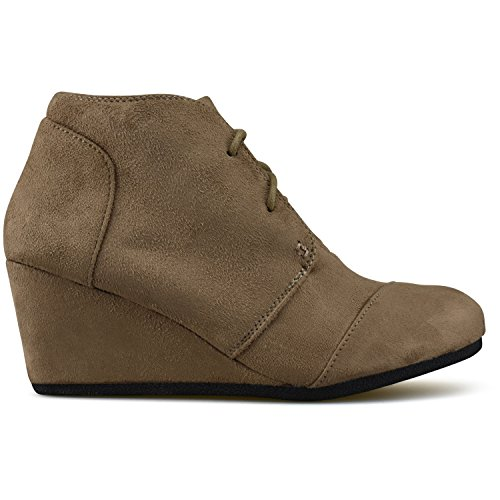 Standard Wedge Heel Premier Outdoor Casual Booties Fashion Shoes Low Taupe 7qrdTqc