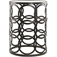 Bronze Side Table | Antique Metal End Table with Glass Top Includes ModHaus Living (TM) Pen