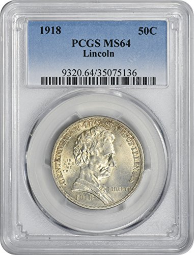 1918 Half Dollar Silver (1918 Commemorative Lincoln Half Dollar MS64 PCGS)