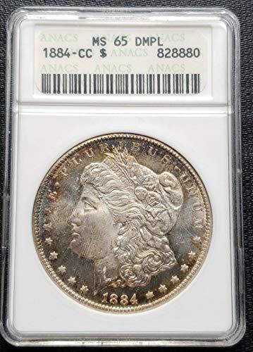 1884 CC USA MORGAN SILVER DOLLAR ***ANACS GRADED MS 65 DMPL*** BOOK VALUE $2200