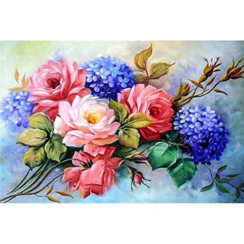 Wending Art 5D DIY Diamond Painting Kits Full Square Drills Pictures Colorful Flowers Paint-by-Number Set Cross Stitch Rhinestone Embroidery Home Wall Decor Blooming Peony 30x40cm