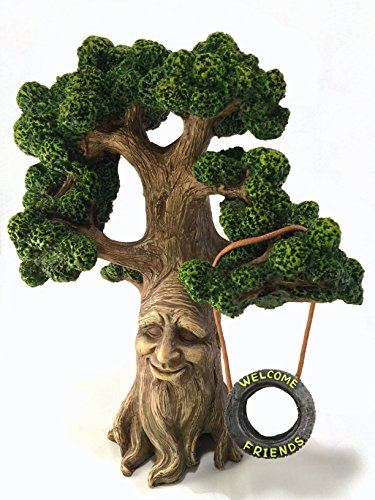 Enchanted Fairy Garden Kit (Fairy and Garden Gnome Tree - Enchanted Grandpa Miniature Tree with Removable Glow in the Dark Welcome Sign for Fairies and Lawn Gnomes)