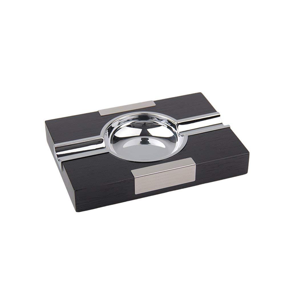 木製の灰皿高級シガー灰皿喫煙者デスクトップ喫煙灰皿用ホームオフィスバー装飾男のギフトL 20.5 * W 15 * H 3.2 cm、ブラウン (色 : ブラック, サイズ : -)  ブラック B07R233X24