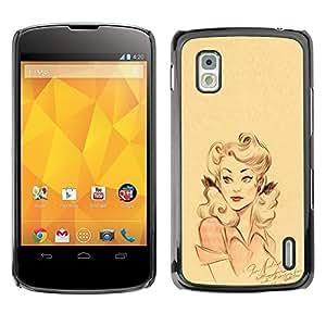 Cubierta protectora del caso de Shell Plástico || LG Google Nexus 4 E960 || Pink Yellow Girl Lips Pin Up @XPTECH