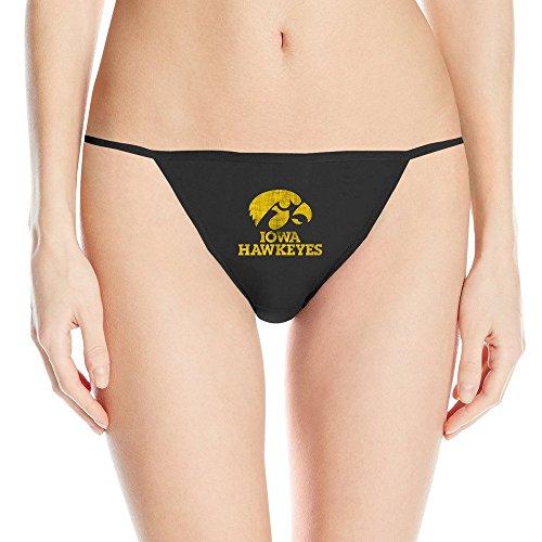 ERICP Women's University Of Iowa UI Iowa Hawkeyes Logo Cotton Thongs Black