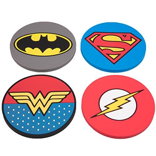 DC Justice League Super Hero Coaster Set - Batman, Superman, Wonder Woman, The Flash - Set of 4, PVC]()