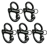 Fusion Climb Quick Release High Strength Snap Shackle 18KN Swedged Pull-Lock Mechanism Black 5-Pack