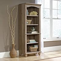 Sauder Harbor View Library | Salt Oak | Enclosed Back Panel with Cord Access | 3 Adjustable Shelves