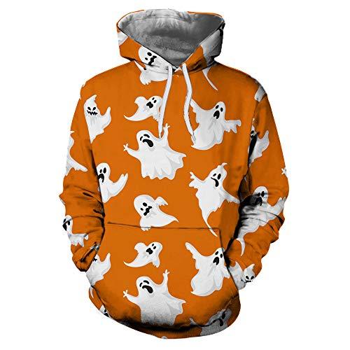 TWGONE Couples Shirts Casual Autumn Winter 3D Printing Long Sleeve Womens Tops Hoodies Sweatshirt Blouse(US-10/CN-2XL,Orange)