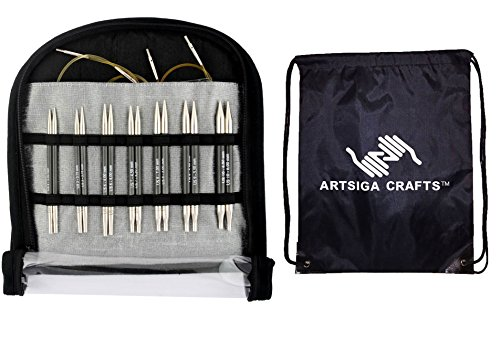 Knitter's Pride Karbonz Deluxe Interchangeable Short Tip Knitting Needle Set with 1 Artsiga Crafts Project Bag 110605 by Artsiga Crafts Knitter's Pride