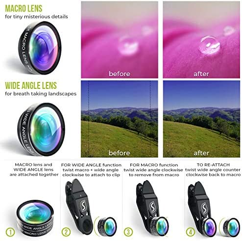 5 in 1 Phone Camera Lens Kit – Optical Glass Attachment Set – 2X Zoom Telephoto, 198 Fisheye, 0.63X Wide Angle, 15X Macro, CPL Filter with Universal Clip Adapter for Cell Phones and Tablets (Black) 51r43eBYG0L