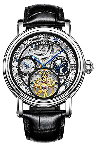 Men's Golden Watch Automatic Mechanical Stainless Steel Steampunk Skeleton Leather Band Blue Pointer (Silver Black)