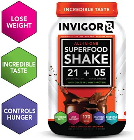 INVIGOR8 Superfood Shake (Chocolate Brownie) Gluten-Free and Non GMO Meal Replacement Grass-Fed Whey Protein Shake with Probiotics and Omega 3 (645g)
