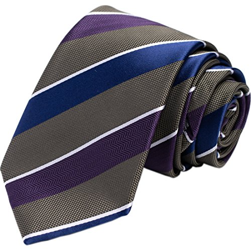 KissTies Slim Tie 2.7'' Olive Green Stripes Skinny Necktie + Gift Box