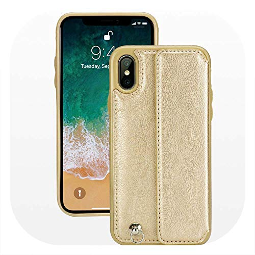 Glad You Came Card Slot Leather Case for iPhone X XS 7 8 Plus Luxury Cover Flip Phone Bag Case for iPhone Xs Max 6s 6 with Hand Strap,Champagne Gold,for iPhone XR