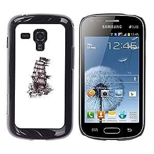 Caucho caso de Shell duro de la cubierta de accesorios de protección BY RAYDREAMMM - Samsung Galaxy S Duos S7562 - Ship Pirates Ink White Black Clean