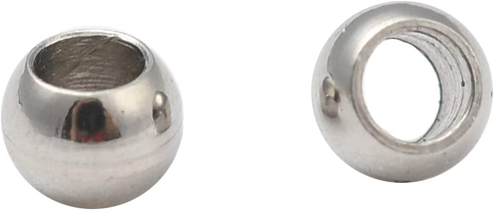 Airssory 50 Pcs 5-Size Stainless Steel Metal Beads Round Spacer Connector for Necklace Earrings Bracelet Jewelry Making DIY Craft 3~8x2.5~7mm