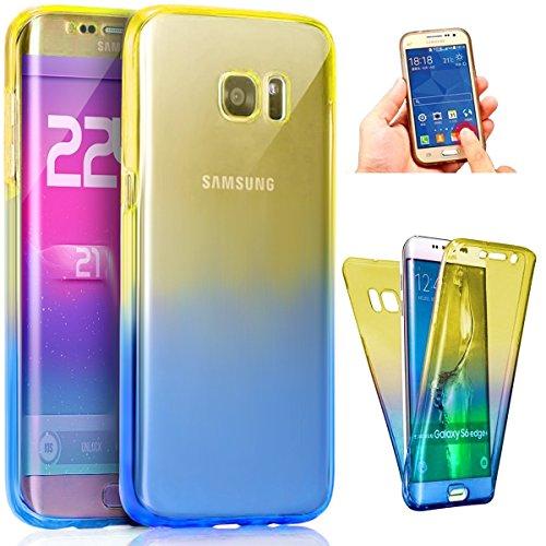 Funda Samsung Galaxy S7 edge Cover Samsung G935,Ukayfe Funda 360 Doble Delantera + Trasera Gel Transparente Silicona Gel para Samsung Galaxy S7 edge Samsung G935,Samsung Galaxy S7 edge Samsung G935 Cr Azul + púrpura