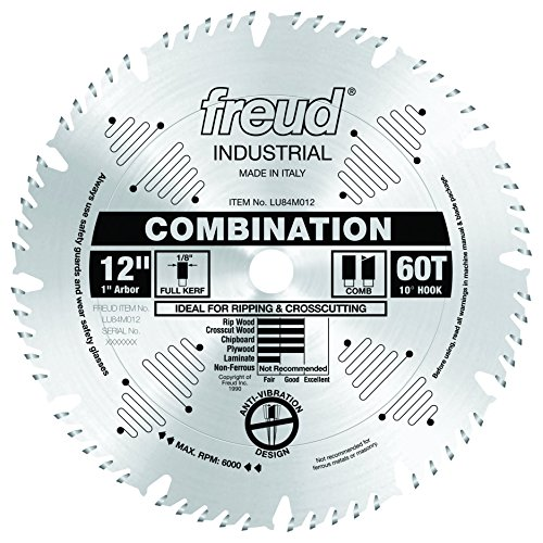 Freud LU84M012 12-Inch 60 Tooth ATB Combination Saw Blade with 1-Inch Arbor