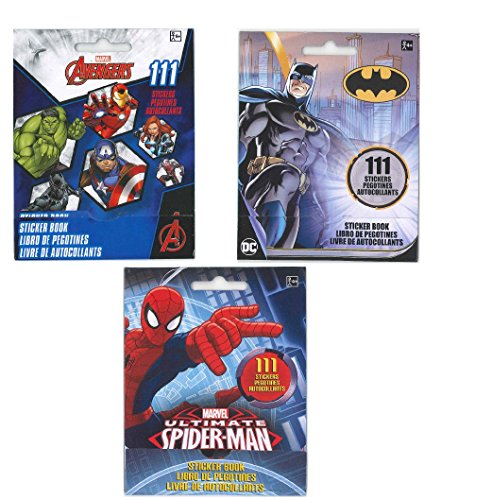 Set of 3 Sticker Books for Kids: Avengers, Batman and Spider-Man (9 sheets with 111 stickers per book)-3 PACK