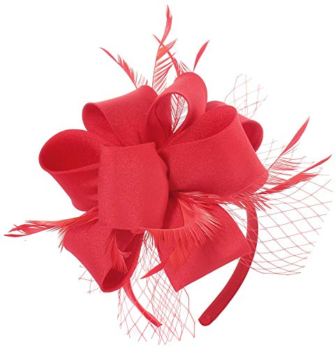 (Fascinator Hats for Women Tea Party Wedding Headband Feather Cocktail Headwear Hair Clip for Girls (Red))