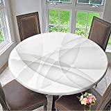 Mikihome Premium Tablecloth Abstract Silver Background Everyday Use 35.5''-40'' Round (Elastic Edge)