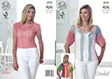 King Cole Ladies 4 Ply Crochet Pattern for Cropped Top & Short Sleeved Cardigan (4710) by King Cole