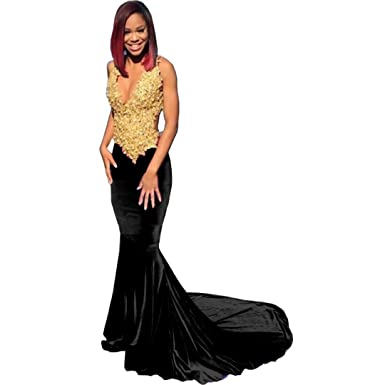 Chady Sexy Black Girl Prom Dresses 2017 V-Neck Sleeveless Gold Lace Applique Mermaid African