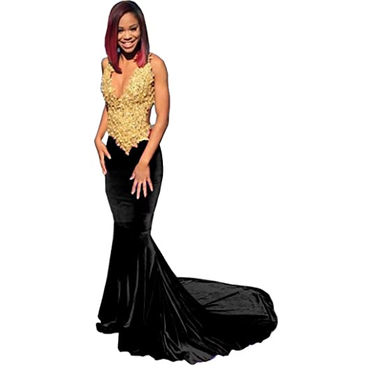 Chady Sexy Black Girl Prom Dresses 2017 V Neck Sleeveless Gold Lace