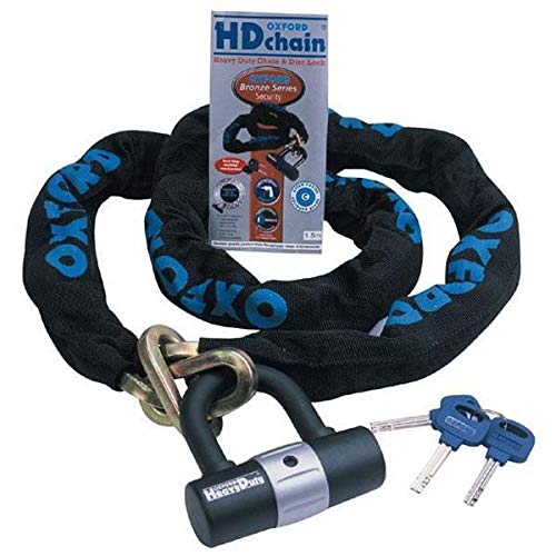 Oxford OF159 'HD Chain' 9.5mm Square Link Chain and Tough Double Locking Padlock (Best Padlock For Bike Chain)