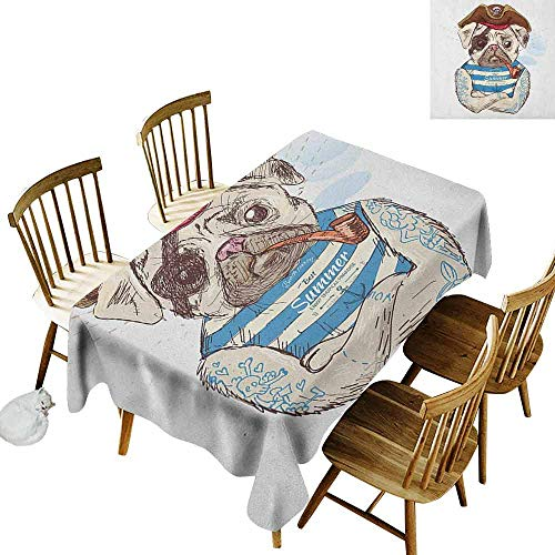 DONEECKL Pug Leakproof Tablecloth Suitable for Buffet Table Pirate Pug Conqueror of The Seas Pipe Skulls and Bones Hat Striped Sleeveless T Shirt Brown Blue W70 xL102 ()