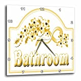 3dRose dpp_60566_1 Victorian Yellow Gold Bathroom Sign Wall Clock, 10 by 10-Inch For Sale