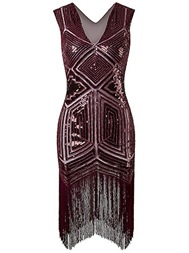 [Vijiv Vintage 1920s Dress Flapper Costume Black Sequin Fringe Party Gatsby Dresses] (Sequin & Fringe Red Flapper Costumes)