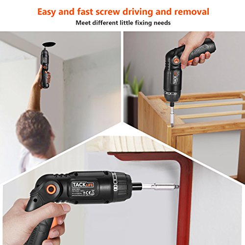Electric Screwdriver,SDH13DC Cordless Rechargeable Screwdriver 3.6V 2.0Ah Lithium Ion Battery MAX Torque 4N.m, 3 Flexible Position and 6 Torque Setting, Front LED and Rear Flashlight by TACKLIFE (Image #5)