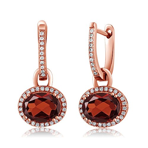 Gem Stone King 18K Rose Gold Plated 925 Sterling Silver Oval Gemstone Birthstone Earrings