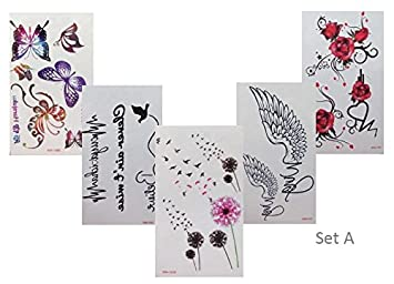 Diente alas rosas mariposas Colores Negro Fake Tattoo pequeño 5 ...