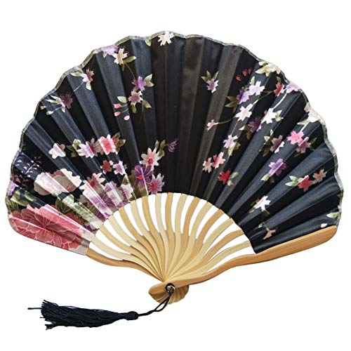 JJLIKER Hand Held Folding Fans Paper Bamboo Frame with Tassels 100% Handmade Oriental Chinese/Japanese Vintage Retro Style