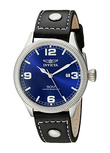 Invicta-Mens-1459-Vintage-Collection-Riveted-Leather-Strap-Blue-Dial-Watch