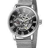 Gute Classic Steampunk Mechanical Watch Hand-wind Skeleton Wristwatch Gold Dial Unisex