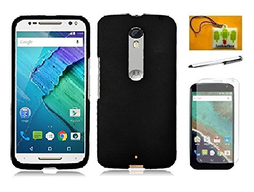 Motorola Moto X Pure Edition/Style (2015 Release), LF 4 in 1 Bundle, Hard Snap on Case Cover, Stylus Pen, Screen Protector & Wiper Accessory (Hard Black) ()