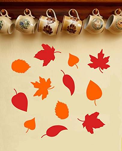 43SabrinaGill Set Of Autumn Leaves Fall Decor Leaf Stickers Halloween Decoration Removable Wall Decals -