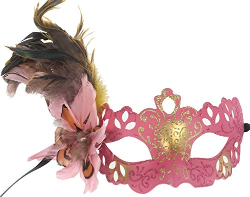 RedSkyTrader Womens Feathered Venetian Costume Mask One Size Fits Most (Pink Venetian Masquerade Mask With Feathers)