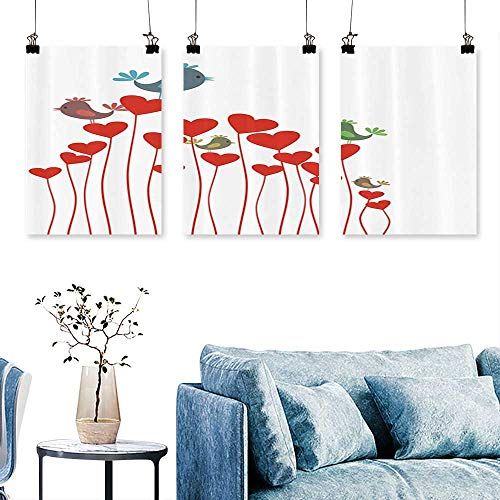 (SCOCICI1588 Three Consecutive Painting Frameless Bird Sings Sitting Hearts Twitting Springtime Garden Lovely Oriental Bathroom Access to Hang for Living Room No Frame 30 INCH X 60 INCH X 3PCS)