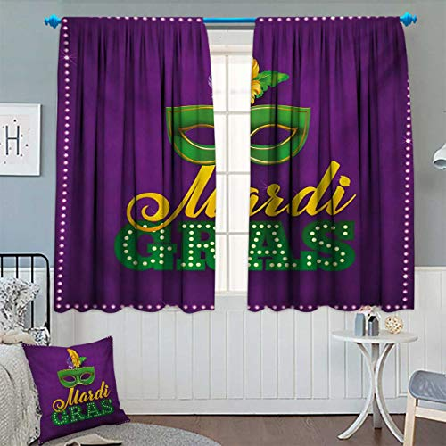Chaneyhouse Mardi Gras Window Curtain Fabric Green Mask with Colorful Feathers on Purple Backdrop Styled Calligraphy Drapes for Living Room 55
