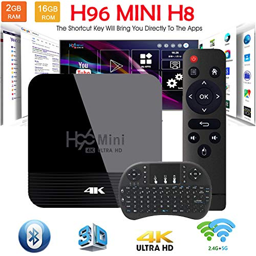 Android TV Box Smart TV Box 9.0 OS BT H96 Mini H8 6K RK3228A 2G 16G Support 2.4G-5G Dual-Band Wi-Fi USB 3.0 H.265 Media…