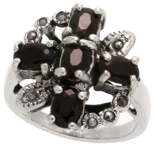 (Sterling Silver Marcasite Cross & Wreath Ring, w/ Oval Cut Natural Garnet, 3/4