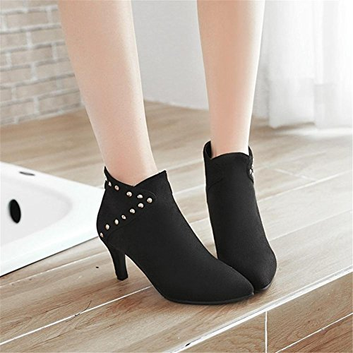 Schwarz Kurze EUR41UK758 Wildleder High NVXIE Rot Spitz Niet Frauen Stiefel Arbeit Heel Herbst Stiletto Winter Party 5qBWwUzZx