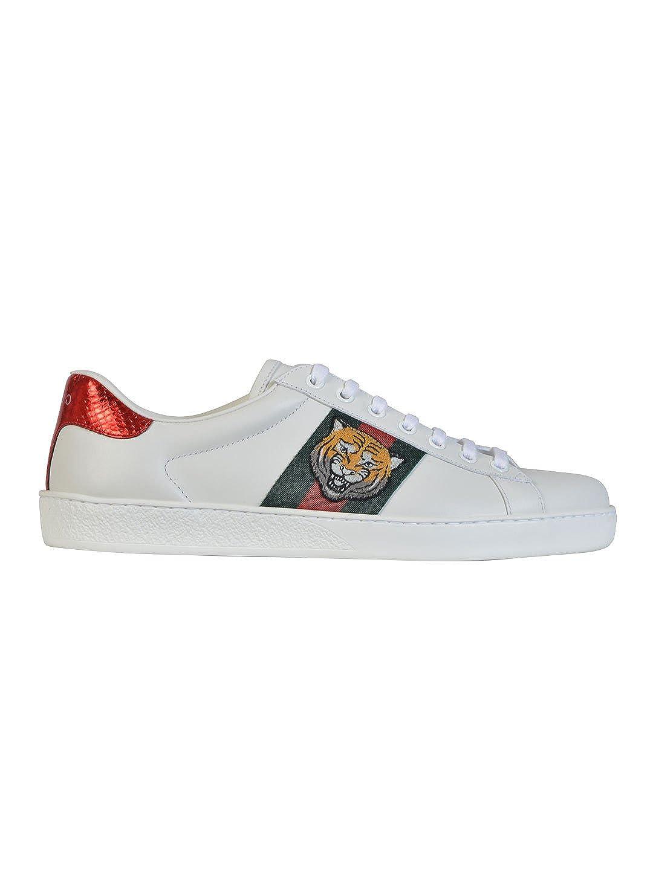 Gucci Hombre 457132A38G09064 Blanco Cuero Zapatillas: Amazon.es: Zapatos y complementos