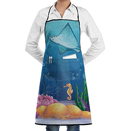 Grill Aprons Kitchen Chef Bib - SarahKen Ocean Sealife Navy Fish Moss Shells Bubbles Stones And Sunbeams Rays Professional For BBQ Baking Cooking For Men Women Pockets