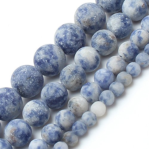 Love Beads Matte New Blue Sodalite Stone Beads 6 mm Round Loose Jewelry ()
